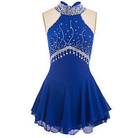 Figure Skating Dress Women's / Girls' Ice Skating Dress Aquamarine Spandex High Elasticity Competition Skating Wear Handmade Jeweled / Rhinestone Sleeveless Ic