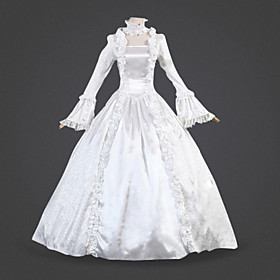 Princess Cosplay Costume / Masquerade Women's Halloween / Carnival / Masquerade Festival / Holiday Halloween Costumes White Solid Colored Rococo / Victorian /