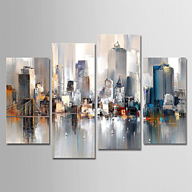 Hand-Painted Canvas Oil Painting Abstract City Landscape Set Of 4 For Home Decoration With Frame Ready To Hang