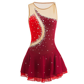 Figure Skating Dress Women's Girls' Ice Skating Dress Burgundy Patchwork Elastane High Elasticity Competition Skating Wear Handmade Jeweled Rhinestone Sleevele