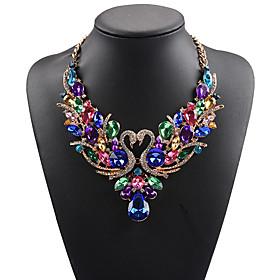 Women's Statement Necklace Bib necklace Rhinestone Swan Animal Statement Ladies Luxury Bohemian White Red Rainbow Necklace Jewelry For Wedding Party Special Oc