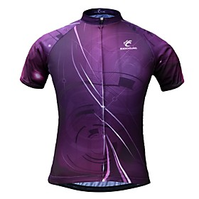 JESOCYCLING Women's Short Sleeve Cycling Jersey - Purple Bike Jersey Quick Dry Sports 100% Polyester Mountain Bike MTB Road Bike Cycling Clothing Apparel / Str