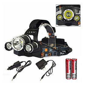 Headlamps LED Emitters 6000 lm 1 Mode with Charger with Batteries and Charger Zoomable Waterproof Rechargeable Camping / Hiking / Caving Everyday Use Diving /