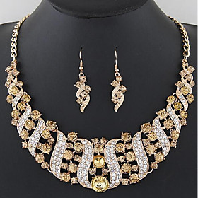 Women's White Cubic Zirconia Tennis Chain Jewelry Set Imitation Diamond Leaf Luxury, Unique Design, Romantic Include Drop Earrings Necklace Black / Rainbow / B