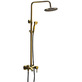 Shower Faucet - Traditional Antique Brass Shower System Ceramic Valve / Single Handle Three Holes