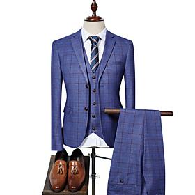 Men's Party / Work Business Spring   Fall Regular Suits, Plaid Peter Pan Collar Long Sleeve Blue / Black / Royal Blue XL / XXL / XXXL / Business Formal / Slim