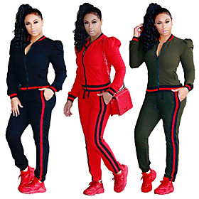 Women's Pocket Tracksuit Black Army Green Red Sports Solid Color Cotton Pants / Trousers Sweatshirt Clothing Suit Gym Workout Workout Long Sleeve Plus Size Act