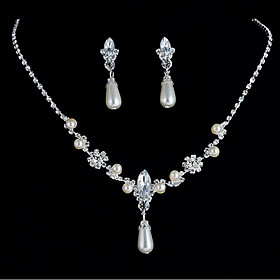 Women's Tennis Chain Jewelry Set Imitation Pearl, Rhinestone Drop Stylish, Simple, European Include Bridal Jewelry Sets Silver For Daily Date / Earrings