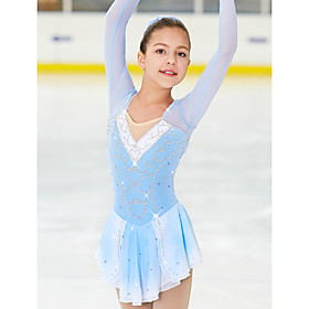 Figure Skating Dress Women's Girls' Ice Skating Dress Blue / White Spandex High Elasticity Competition Skating Wear Handmade Classic Fashion Ice Skating Figure