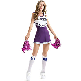 Cheerleader Cowboy Teenager Women's Grid Stage Props Dress Costume For Halloween Performance Nylon Tactel Patchwork Dress Handheld Poms Halloween Carnival Masq
