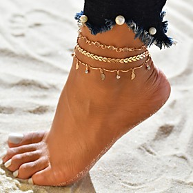 Women's Layered Ankle Bracelet Gold Plated Tropical