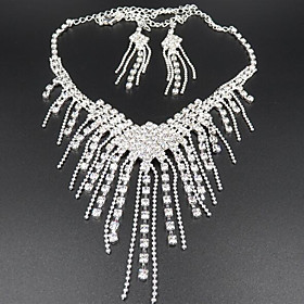 Tassel Long Jewelry Set Cubic Zirconia, Imitation Diamond Ladies, Tassel, Party Include White For / Earrings / Necklace
