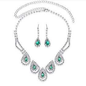 Women's Sapphire Crystal Jewelry Set Cubic Zirconia, Imitation Diamond Drop Ladies, Luxury, Party, Elegant, Bridal Include Drop Earrings Pendant Necklace Emera