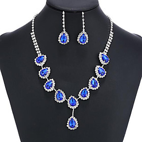Sapphire Crystal Tassel Jewelry Set Cubic Zirconia, Imitation Diamond Ladies, Party, Fashion, Colorful Include Gold / Blue For Wedding Party Special Occasion A