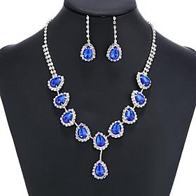 Sapphire Crystal Tassel Jewelry Set Cubic Zirconia, Imitation Diamond Ladies..