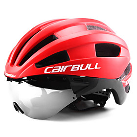 CAIRBULL Bike Helmet with Goggle 22 Vents CE EN 1077 Ventilation Insect Net Integrally-molded EPS Sports Mountain Bike / MTB Road Cycling - Black / White Green