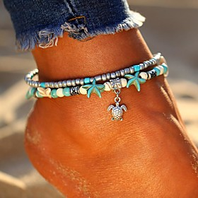Women's Turquoise Layered Ankle Bracelet Turtle Starfish