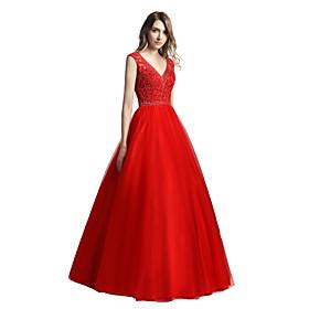 d165467dd12d Da ballo A V Lungo Tulle Brillante e glitterato Graduazione   Serata  formale Vestito con Dettagli con