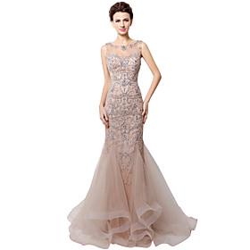 0b4b1369808f A sirena Con decorazione gioiello Strascico di corte Tulle Brillante e  glitterato Serata formale Vestito con