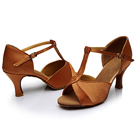 Women's Dance Shoes Satin Latin Shoes / Salsa Shoes Sandal Customized Heel Customizable Brown / Indoor / Leather / EU40 Category:Salsa Shoes,Latin Shoes; Upper Materials:Satin; Lining Material:Fabric; Heel Type:Customized Heel; Actual Heel Height:Customized Heel; Gender:Women's; Range:EU40; Style:Sandal; Outsole Materials:Leather; Occasion:Indoor; Customized Shoes:Customizable; Listing Date:07/25/2017; Production mode:External procurement; Foot Length:; Foot Width:null; SizeChart1_ID:2:468; Size chart date source:Provided by Supplier.; Base Categories:Dance Shoes,Shoes,Apparel  Accessories; Popular Country:United Kingdom,Spain,United States; Special selected products:hot