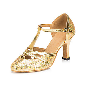 Women's Modern Shoes / Ballroom Shoes PU T-Strap Heel Glitter / Paillette Flared Heel Customizable Dance Shoes Black / Coffee / Gold / Performance / Practice Category:Ballroom Shoes,Modern Shoes; Upper Materials:PU; Embellishment:Paillette,Glitter; Lining Material:Synthetic; Heel Type:Flared Heel; Gender:Women's; Style:Heel; Outsole Materials:Leather; Occasion:Practice,Training,Performance; Closure Type:T-Strap; Customized Shoes:Customizable; Listing Date:06/06/2019; Production mode:Self-produce; Foot Length:; Size chart date source:Measured by LightInTheBox.; Popular Country:Germany,France,United States