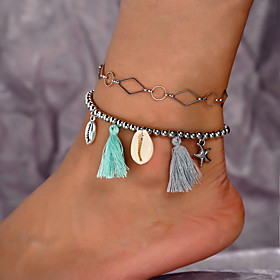 Ankle Bracelet Tassel Women's Body Jewelry For Gift Daily Alloy Shell Silver 2pcs Gender:Women's; Quantity:2pcs; Theme:Shell; Style:Tassel; Jewelry Type:Ankle Bracelet; Occasion:Gift,Daily; Material:Alloy; Length:216; Features:Cool; Front page:Jewelry; Shipping Weight:0.005; Listing Date:07/30/2019