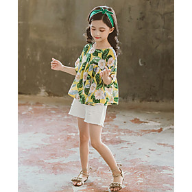 Kids Girls' Basic Floral Short Sleeve Clothing Set Yellow Fabric:Cotton; Sleeve Length:Short Sleeve; Gender:Girls'; Style:Basic; Kids Apparel:Clothing Set; Age Group:Kids; Pattern:Floral; Front page:FF; Listing Date:08/15/2019; Bust:; Length [Bottom]:; Length [Top]: