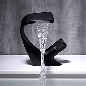 Bathroom Sink Faucet - Waterfall Chrome / Black Centerset Single Handle One HoleBath Taps