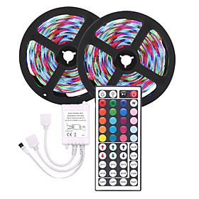 tira de luz led (2  5m) 10m 3528 rgb 600led strips iluminación flexible cambio de color con 44 teclas de control remoto ir ideal para el hogar cocina