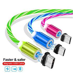 Cable de teléfono móvil de carga magnética de 1 m cable de datos de iluminación luminosa usb para iphone samaung huawei led