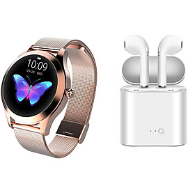 KW10 Stainless Steel Smartwatch BT Fitness Tracker with TWS Wireless Headphone Support Notify/Heart Rate Monitor Sport Smart Watch Compatible IOS/Andr