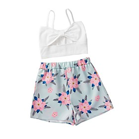 Kids Girls' Basic Floral Sleeveless Clothing Set White Fabric:Polyester; Sleeve Length:Sleeveless; Gender:Girls'; Style:Basic; Kids Apparel:Clothing Set; Age Group:Kids; Pattern:Floral; Front page:FF; Listing Date:02/28/2020; Bust:; Length [Bottom]:; Length [Top]: