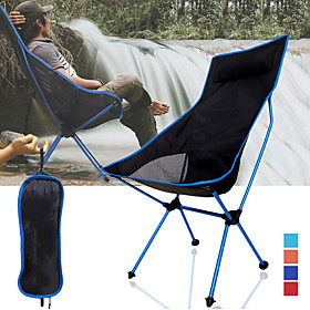 Camping Chair High Back with Headrest Breathable Ultra Light (UL) Foldable Compact Mesh 7075 Aluminium Alloy for 1 person Fishing Hiking Camping Autum