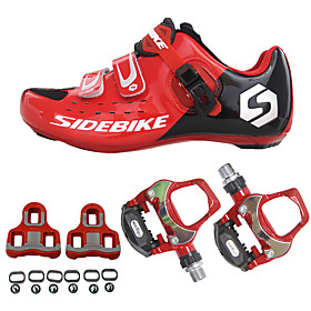 SIDEBIKE Adults' Cycling Shoes With Pedals  Cleats Road Bike Shoes Carbon Fiber Cushioning Cycling Red Men's Cycling Shoes / Breathable Mesh