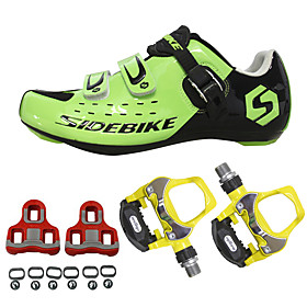 SIDEBIKE Adults' Cycling Shoes With Pedals  Cleats Road Bike Shoes Nylon Breathable Cushioning Cycling Black Red Green Men's Cycling Shoes / Breathabl