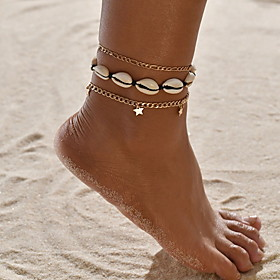 Women's Ankle Bracelet Star Boho Shell Anklet Jewelry Gold For Daily Gender:Women's; Quantity:1pc; Theme:Star; Shape:Circular; Style:Boho; Jewelry Type:Ankle Bracelet; Occasion:Daily; Material:Shell; Length:28; Features:Heart; Front page:Jewelry; Listing Date:05/11/2020