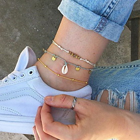 Women's Ankle Bracelet Braided Boho Shell Anklet Jewelry White For Daily / 3pcs Gender:Women's; Quantity:3pcs; Shape:Round; Style:Boho; Jewelry Type:Ankle Bracelet; Occasion:Daily; Material:Shell; Length:20; Design:Braided; Features:Cute; Front page:Jewelry; Listing Date:05/11/2020