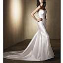 A-line Strapless Cathedral Train Satin Wedding Dresses for Bride (HSX033)