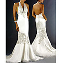 Trumpet / Mermaid Satin Halter Sweep Train Satin Wedding Dresses for Bride