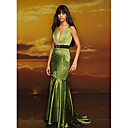 Trumpet V-neck Court Train Taffeta Prom / Evening Dresses (HSX316)