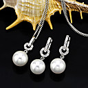 Cultured Pearl Shining White Gold Plated Earring + Pendant Set(SZZ-0017)