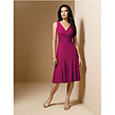 A-line V-neck Knee-length Satin and Chiffon Bridesmaid Dress / Prom Dress HSX217
