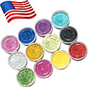 12 colores en polvo acrílico fijados para 3D nail art 120g