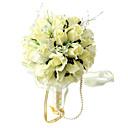Elegant Light Yellow Round Wedding Bouquet/ Bridal Bouquet With Chiffon Beads Decoration