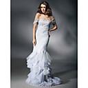 Sirène / trompette sweetheart off-the-shoulder sweep / brush train dentelle robe de soirée avec dentelle par ts couture