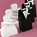 Bride Or Groom Favor Box With White Ribbon (Set of 12)