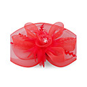 Kate Middleton Style Watch Red Feather And Organza Lace Flower Wedding And Party Fascinator