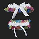 2-pieza de arco iris de organza de raso con ligas de boda bowknot