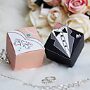 Square Bride Groom Favor Box With Rhinestone (Set of 12)