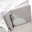 Sample Silver Scalloped Edge Bride Groom Wedding Invitation (One Set)